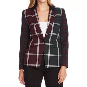 NWT Vince Camuto patchwork plaid blazer jacket